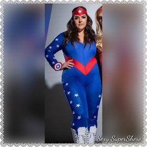 🆕🇺🇸Captain America Shero 3pc jumpsuit costume